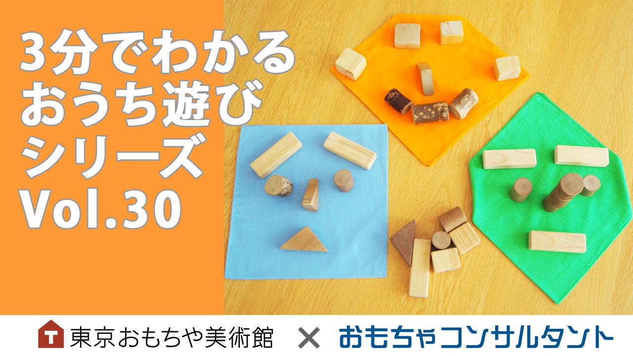 3分でわかる おうち遊びシリーズ Vol.30 「積木とハンカチで遊ぼう」