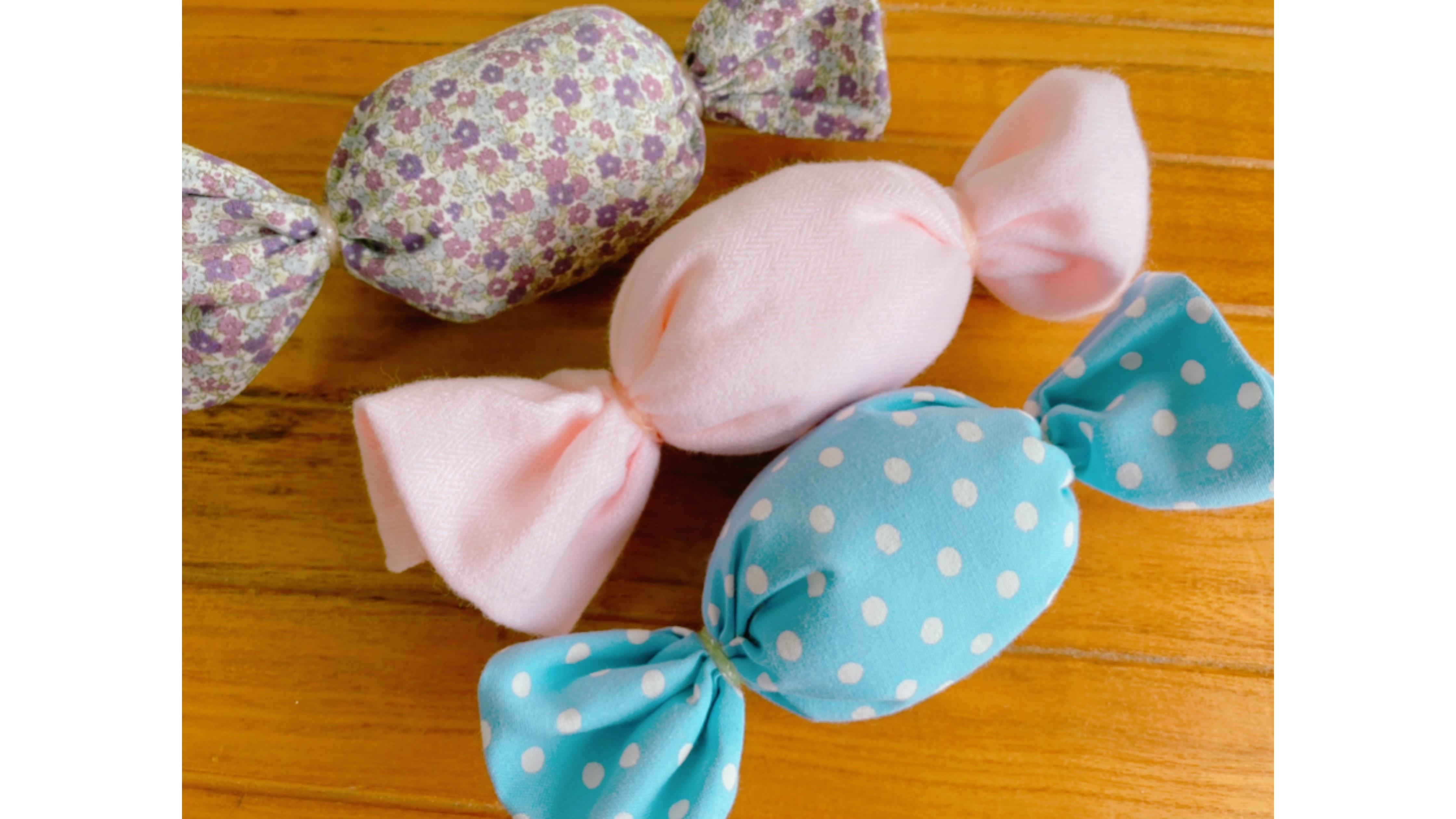 ハンカチやタオルでできる コロンとかわいいキャンディ -縫わずに簡単!ママの手づくり布おもちゃ#1