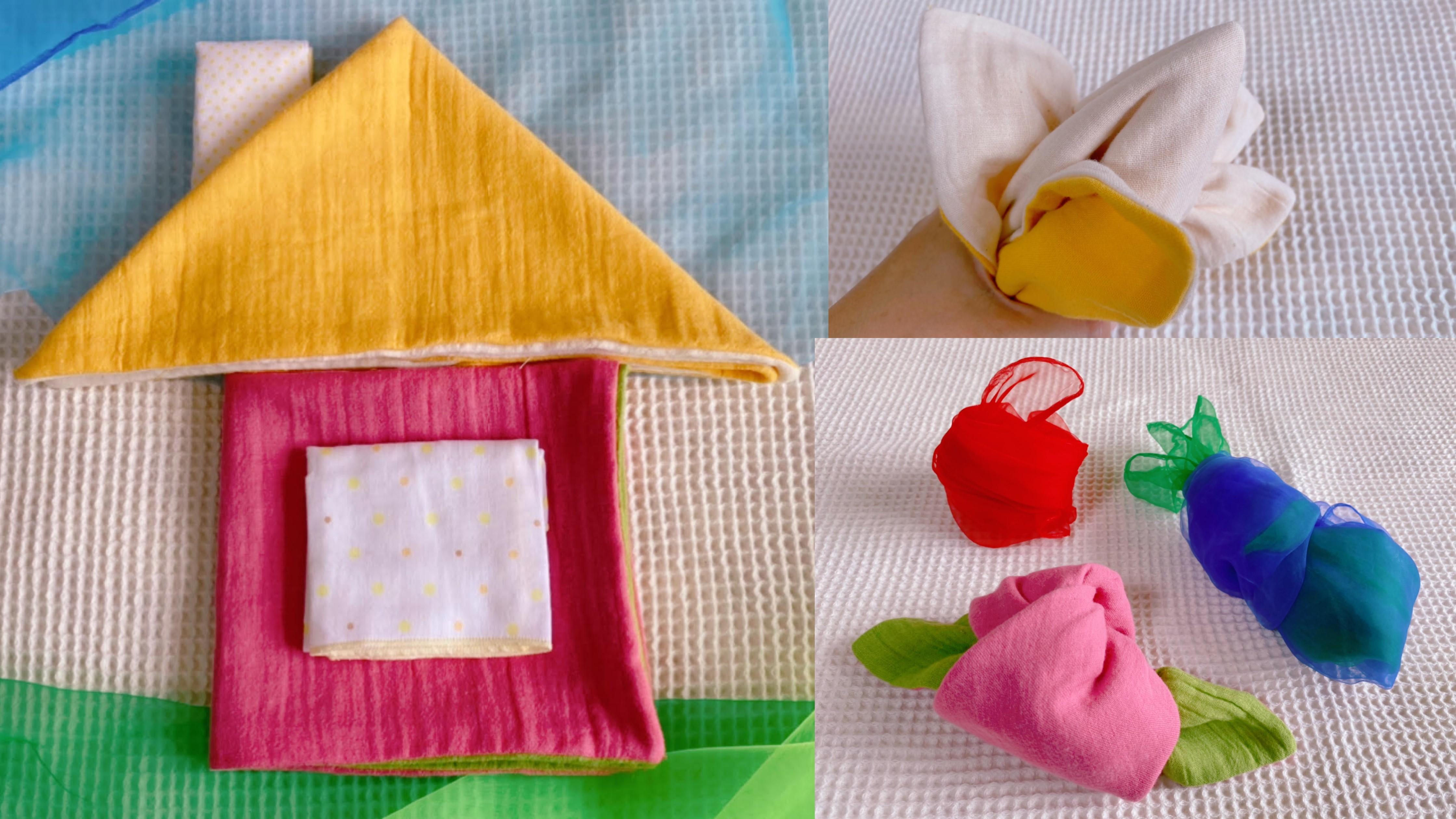 ハンカチや手ぬぐいで遊ぼう!たたむだけの簡単布遊び -縫わずに簡単!ママの手づくり布おもちゃ#2