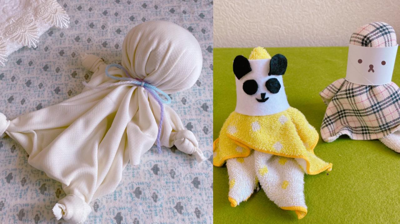 1枚の布で作って遊べる人形、パペット -縫わずに簡単!ママの手づくり布おもちゃ#3